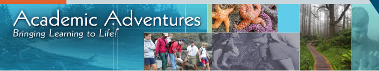 Students tide pooling in the San Juan Islands. Seastars:  Pisaster Ocracheus, the Purple Seastar. 2 Students:  Students collaborating at the tide pools . Forest Path:  Old Growth Forest. Boy with Seastar:  Student holding a Seastar. Rosario Beach